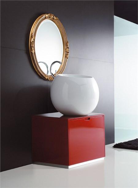 mobile rosso laccato per lavabo appoggio Sfera