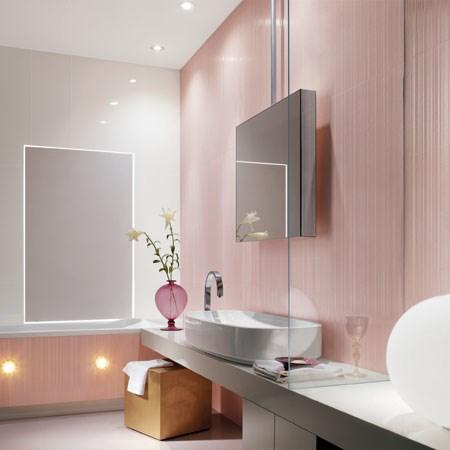 Collezione lumina bianco e rosa for Piastrelle bagno rosa antico