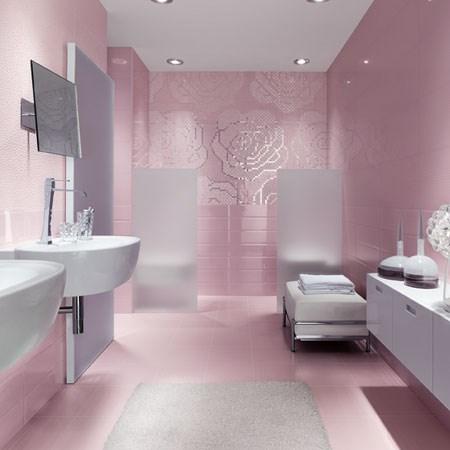 Mattonelle bagno rosa cipria idee creative su interni e - Piastrelle rosa ...