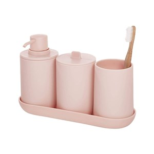 set accessori bagno rosa