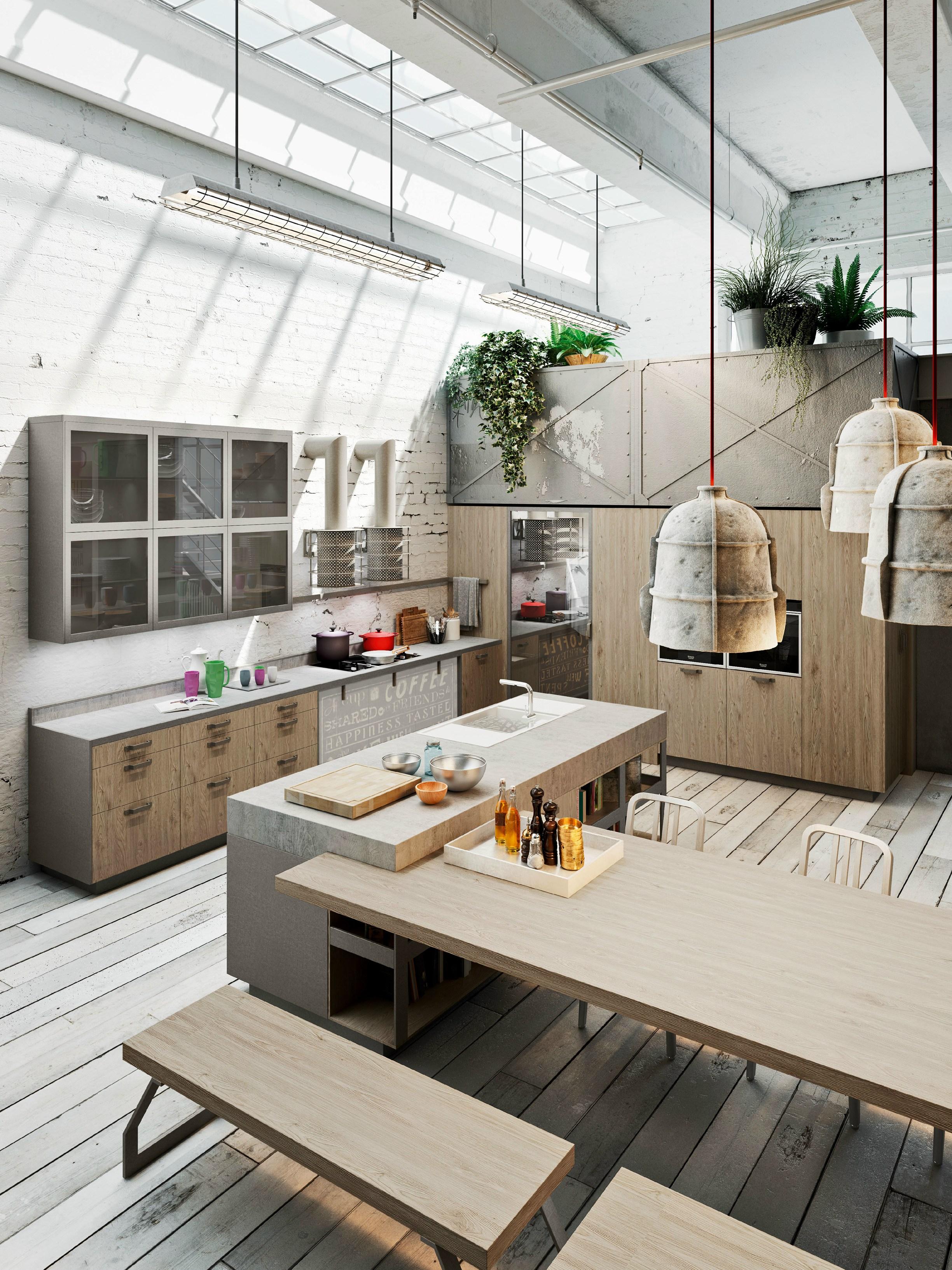 Cucina lineare con isola Code Evolution