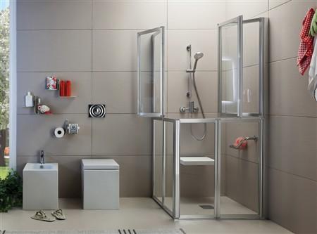 Box doccia disabili con porte a soffietto time - Porta per bagno disabili ...