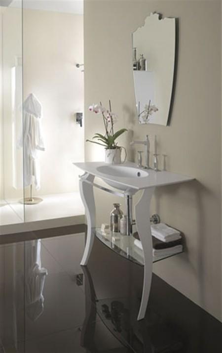 Mobili bagno: consolle per lavabo Amelì Argento
